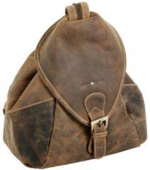 Vintage Rucksack Leder 28 cm Greenburry sattelbraun