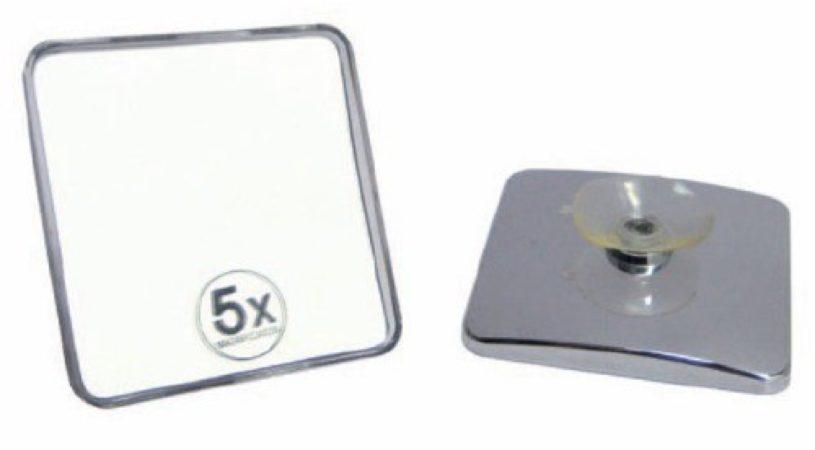 Afbeelding van Douche Concurrent Cosmeticaspiegel Vierkant Woodynox Verchroomd Kunststof 5x Vergrotend met Zuignap 10x10cm