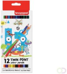Kleurpotlood Bruynzeel Kids Twin Point blister à 12 stuks assorti