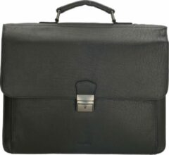 Old West Waco - Laptoptas 17.3 inch / aktetas / schoudertas - 100% Leer - met slot - Zwart