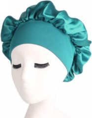 Bonnet Satijn XL|Slaapmuts Satijn|Hoofddeksel|Unisex|Cabantis|Turquoise