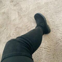 Shoekueen Dames Overknee Laarzen Zwart Suede 39