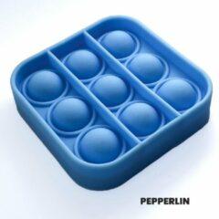 PEPPERLIN® • Blij Kind • Fidget - Popit - Klein - Mini - Gifvrij - Blauw - Duuzaam - Vierkant - Fidget