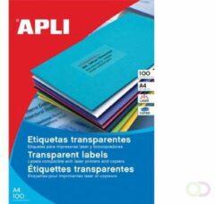 Apli Transparante etiketten ft 70 x 37 mm (b x h), 2.400 stuks, 24 per blad, doos van 100 blad