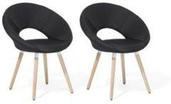 Beliani Roslyn - Stoel set van 2 - Zwart - polyester - 66 x 45 x 80 cm