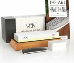 Luxe Dubbelzijdige Wetsteen Slijpsteen set 1000 6000 van Edelkorund (18x6x3 CM) met E-book voor slijpen van messen e.d. van VDN