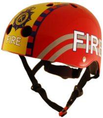 Rode Kiddimoto - Brandweer - Small - Geschikt voor 2-6jarige of hoofdomtrek van 48 tot 52 cm - Design Skatehelm / Fietshelm