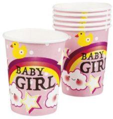 Partywinkel Geboorte Bekers Baby Girl Karton 250ml 6 stuks