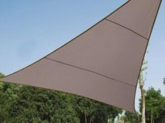 Grijze VidaXL Schaduwdoek - Zonnezeil - Driehoek 5 X 5 X 5 M, Kleur: Taupe