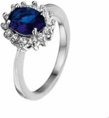 Blauwe GLAMS The Jewelry Collection Ring Zirkonia En Synthetische Saffier - Zilver