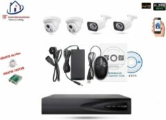 Witte Home-Locking camerasysteem met bewegingsdetectie en NVR 5.0MP H265 POE met 2 binnen en 2 buitencamera's 1944P 5.0MP CS-4-1432