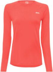 Koraalrode Dhb Aeron hardloopshirt voor dames (lange mouwen) - Hardloopshirts (lange mouwen)