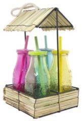 Bruine Imperial Kitchen Hutje met 4 flesjes gekleurd glas Inca