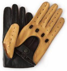 Gele Laimböck Popoli hertenleren heren autohandschoenen met hele vingers – tweekleurig – maat 9