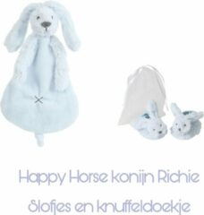 Lichtblauwe Happy Horse konijn Richie * slofjes en knuffeldoekje* licht blauw