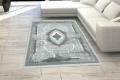 Licht-grijze Flycarpets Modern Vloerkleed Grijs - Tegula - Medaillon - 80x150 cm