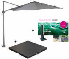 Garden Impressions Hawaii zweefparasol S Ø300 - donker grijs/licht grijs met 60 kg parasolvoet en parasolhoes