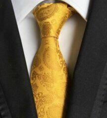 Casual Bodywear Goud / Geel luxe stropdas met Paisley motief