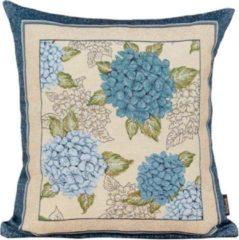Blauwe Emme Kussenhoes - luxe gobelinstof - Hortensia C