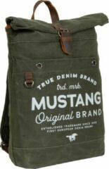 Donkergroene Mustang ® Genua - Rugtas - Rugzak - Backpack - Heavy waxed - Canvas - Army Green