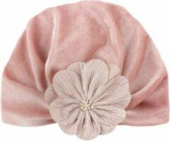 Babygifts4you Tulband Baby Velvet Bloem Oud Roze Mutsje Pink