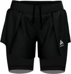 Zwarte FitFlop Odlo 2-In-1 Shorts Zeroweight Ceramicool Pro Dames Sportbroek - Black - Maat XS