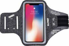 Premium Sportarmband - Universele Hardloop Armband - iPhone, Samsung & Huawei - Smartphonehouder - Reflecterend, Spatwaterdicht, Sleutelhouder, Verstelbaar - Lycra - Grijze Sportarmband - ATHLETIX