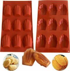 FLOOQ - Madeleine Bakvorm - BPA vrij - Anti-aanbaklaag - Siliconen - Roodbruin - 9 stuks