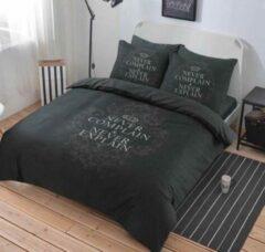 Grijze Cotton Club Dekbedovertrek Never Complain Grey - 1 Persoons - 140x200/220 cm + 1 kussensloop 60 x 70 cm
