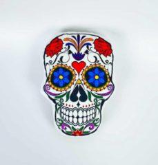 Paarse Decolenti Mexicaanse Doodskop Kussen   Sugar Skull   Dia de los Muertos   Happy Halloween   Doodshoofd Rood Hart   SierKussen   Super Zacht   Wasbaar   Decoratie   Calavera