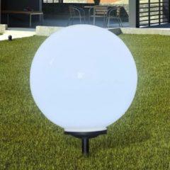 Witte DCM VidaXL - Padverlichting Buitenshuise tuinpad zonne-energie lamp (balvormig) LED 50cm (1 stuk inc. anker)