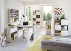 Büromöbel Set Sandeiche Nachbildung/ Hochglanz weiss mit Schreibtisch, Container und Regalen FMD Diego 1 UP/ Tower/ Mika/ Futura