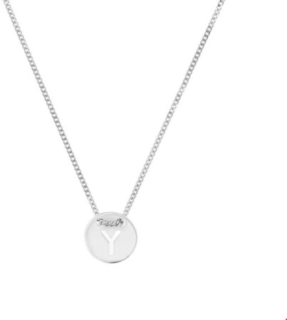 Afbeelding van The Fashion Jewelry Collection Ketting Letter Y 1,3 mm 41 + 4 cm - Zilver