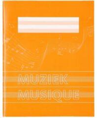 1x stuks A5 schriften / schoolschriften oranje met muzieknoten - 18 bladzijden 23 lijns