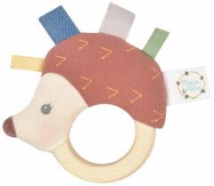 Meiya & Alvin: Egel ETHAN - RAMMELAAR met bijtring in natuurlijk rubber 12cm, op kaart, 0+