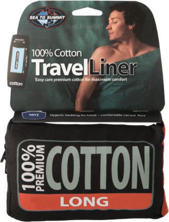 Afbeelding van Blauwe Sea to Summit - Premium Cotton Liner - Lakenzak - Katoen - Oceaan Blauw - Recht model lang