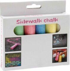 Merkloos / Sans marque Gekleurd stoepkrijt doosje van 6 stuks - buiten kinder speelgoed