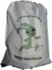 """Sportsandteams Sporttasje """"LOPENDE HAAS"""" wit - Zwemzakje - Turnzakje - Rugzakje"""
