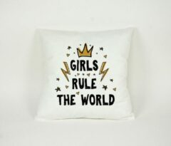 Gouden Kussensloop Girls Rule the World - Sierkussen - Decoratie - Meisjes / Kinderkamer - 45x45cm - Exclusief Vulling - PillowCity