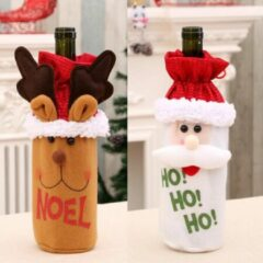 Rode SourceConnect Cadeauverpakking Wijnfles Kerst | Wijnfleshoes Kerstman - Rendier | Wijnfleshouder Kerstdecoratie | Wijnfles Decoratie