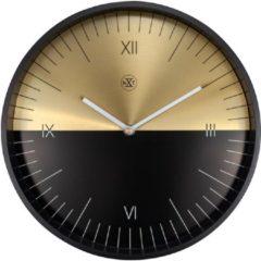 NeXtime NXt Half - Klok - Metaal en Glas - Rond - Ø30 cm - Zwart / Goud