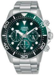Zilveren Lorus horloge chronograaf groen 100m WD RT341JX9