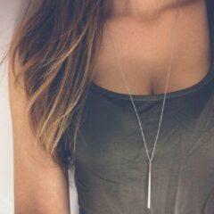 Jillery Yanqueens Fashion Stick Ketting - Dames - Zilverkleurig - 60.5 cm