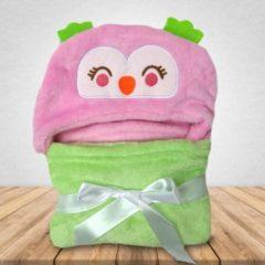 Roze Babydeken Uil 2.0 - Wikkeldeken & Badcape - 100 x 70 cm - Kraamcadeau - Comfy Capes