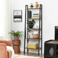 VASAGLE Vintage staande planken, boekenplank met 5 planken, met metalen frame, eenvoudige montage, voor de woonkamer, slaapkamer, keuken, 56 x 172 x 34 cm (B x H x D) LLS45X, trapsgewijs