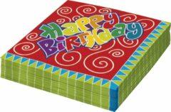 Merkloos / Sans marque Servetten 20 stuks happy birthday