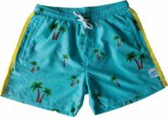 Lichtblauwe SUNBA PALM XL - Zwembroek met rits