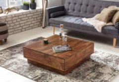 Wohnling WOHNLING Couchtisch Massiv-Holz Sheesham 90 cm breit Design Wohnzimmer-Tisch dunkel-braun Landhaus-Stil Naturholz