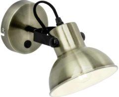 Witte BRILLIANT lamp Ester wandspot schakelaar messing antiek / zwart | 1x D45, E14, 25W, geschikt voor vallampen niet inbegrepen | Draaibare arm | Geschikt voor LED-lampen