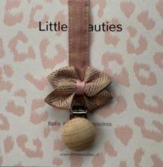 Roze Little Beauties Giftset babygirl rose -Set 4 stuks - haarbandje - speenkoord -2 haarclips - kraamcadeau - babyshower - rose